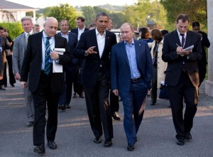 United States President Barack Obama and Russian President Vladimir Putin walk to the G8 Summit dinner following their bilateral meeting in Ireland on 17 June 2013. Photo by Pete Souza [Public domain], via Wikimedia Commons