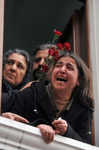 The agony of grief shows in the face of Berkin Elvan's mother as his casket begins its journey through the streets of Istanbul. Photo courtesy Ozann Kosee via Twitter.