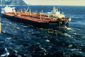 The Exxon Valdez oil tanker after it had run aground. Source:NOAA via Wikimedia Commons.