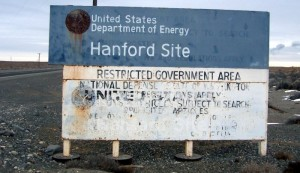 Warning sign at entry to Hanford Site, Washington. Photo by Tobin Fricke via Wikimedia Commons