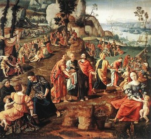 The Miracle of the Loaves and Fishes. Lambert Lombard (1505/1506–1566) [Public domain], via Wikimedia Commons