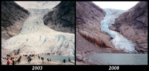 Two views of Briksdalsbreen (The Briksdal glacier) photographed from nearly the same place. Photo By Ximonic, Simo Räsänen (Own work) [GFDL (http://www.gnu.org/copyleft/fdl.html), CC-BY-SA-3.0 (http://creativecommons.org/licenses/by-sa/3.0/) or CC-BY-2.5 (http://creativecommons.org/licenses/by/2.5)], via Wikimedia Commons