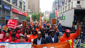 Fast food workers on strike in New York City on May 15. Photo courtesy US Uncut via Facebook