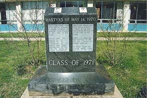 Monument erected at Jackson State to murdered students James Earl Green and Phillip Lafayette Gibbs. Photo by Mike (www.may41970.com)