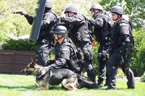 SWAT team before a raid. Photo by User:Fiatswat800 (Own work) [Public domain], via Wikimedia Commons