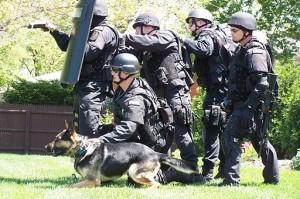 SWAT team before a raid. Photo by User:Fiatswat800 (Own work) [Public domain], via Wikimedia Commons