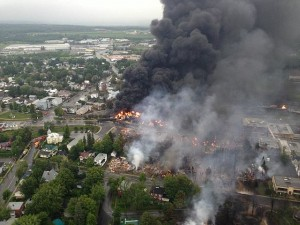 Lac-Mégantic burning. Photo by Sûreté du Québec