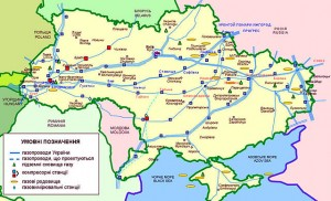 Ukrainian pipelines. Map by Victor Korniyenko (own work) via Wikimedia Commons