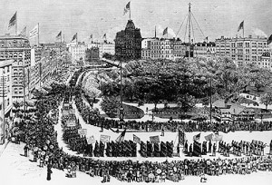 Labor Day parade in New York city 1882. Photo via Wikimedia Commons
