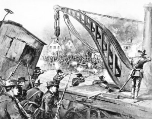 Violence in Chicago escalated when federal troops came to break the 1894 Pullman factory strike, as illustrated in this drawing from Harper's Weekly. More than one thousand rail cars were destroyed, and 13 people were killed. (Photo courtesy Chicago Historical Society) via WikiMediaCommons.