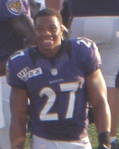 "Ray Rice 2012. ""Ray Rice 2012"" by 1ravenscowboysnflfan - Own work. Licensed under Creative Commons Attribution-Share Alike 3.0 via Wikimedia Commons"