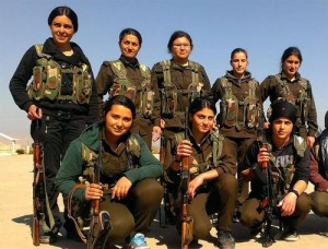 Kurdish fighters of the 'Women's Defense Units' (YPJ) in Rojava, West Kurdistan/Northern Syria. Image via Tumblr.
