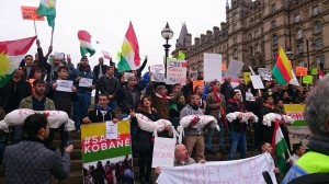Protesters in support of Kobani. Image via FaceBook.