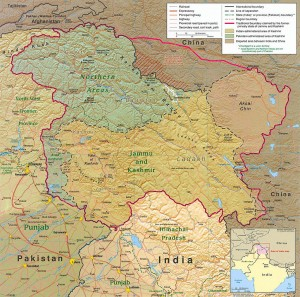 Kashmir region. Map by CIA (public domain) via Wikimedia Commons