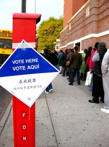 Voting line in Brooklyn, 2008. Photo by April Sikorski from Brooklyn, USA (vote here) [CC-BY-SA-2.0] via Wikimedia Commons