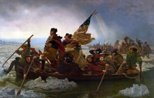 Washington crossing the Delaware River. Emanuel Leutze [Public domain or Public domain], via Wikimedia Commons
