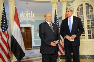 Secretary of State John Kerry and former Yemeni President Abdo Rabbo Mansour Hadi.