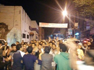 Student protest in Ta'izz, Yemen against Houthis. Photo via Twitter