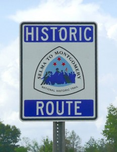 Selma to Montgomery historic route sign. Photo by Markuskun [Public domain], via Wikimedia Commons