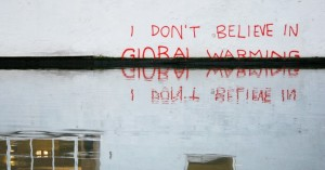 Graffiti on a wall by London's Regent's Canal is believed to by an ironic work of art by acclaimed street artist Banksy.