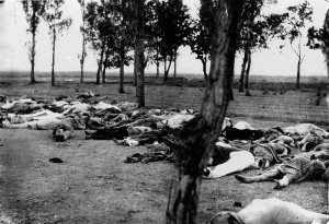 """THOSE WHO FELL BY THE WAYSIDE. Scenes like this were common all over the Armenian provinces, in the spring and summer months of 1915. Death in its several forms---massacre, starvation, exhaustion---destroyed the larger part of the refugees. The Turkish policy was that of extermination under the guise of deportation."" Picture showing Armenians killed during the Armenian Genocide. Image taken from Ambassador Morgenthau's Story, written by Henry Morgenthau, Sr. and published in 1918.  Image Public Domain via Wikimedia Commons."