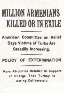 An article by the New York Times dated 15 December 1915 states that one million Armenians had been either deported or executed by the Ottoman government. Image via Wikipedia.