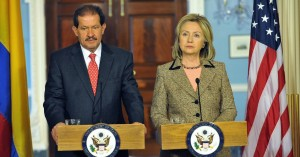 "Then-Secretary of State Hillary Clinton speaks with Colombian Vice President Angelino Garzon in January, 2011. In her remarks, Clinton praised Colombia's efforts in ""reaching out to civil society to add their voices to a national conversation about human rights and labor rights."" (Photo: US State Department/flickr/cc)"