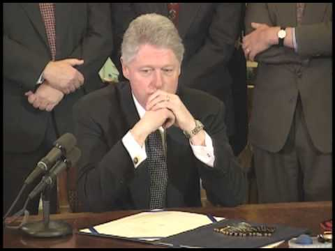 President Clinton signing the Line Item Veto Act. Photo via YouTube