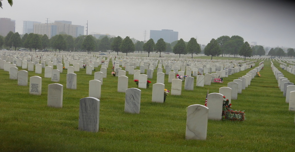 A sea of graves spreads across the Fort Snelling National Cemetery landscape. (Photo author's own work.)