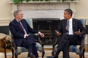 Barack Obama and Mitch McConnell. Photo by The White House [Public domain], via Wikimedia Commons