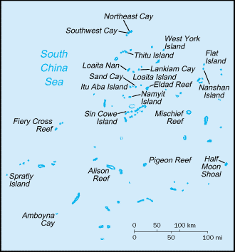 Spratly Islands. Map by the CIA (public domain) via Wikimedia Commons
