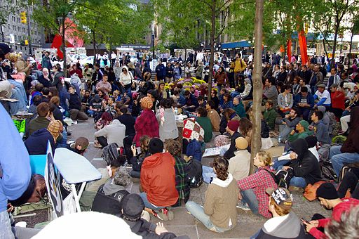 Zuccotti Park, September 18, 2011. Photo by David Shankbone (Own work) [CC BY 3.0], via Wikimedia Commons