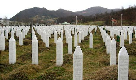 Gravestones at the Srebrenica Genocide memorial.Wikipedia/public domain.