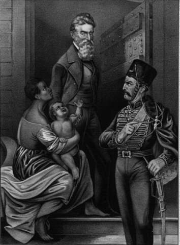 Idealized portrait of John Brown being adored by a slave mother and child as he walks to his execution on December 2, 1859. Image via Public Domain.