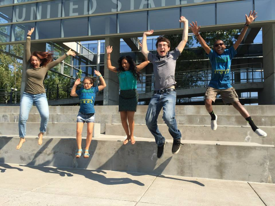 Our Children's Trust after filing their lawsuit. Eugene, Oregon, 8-12-2015. Photo: Our Children's Future via Facebook