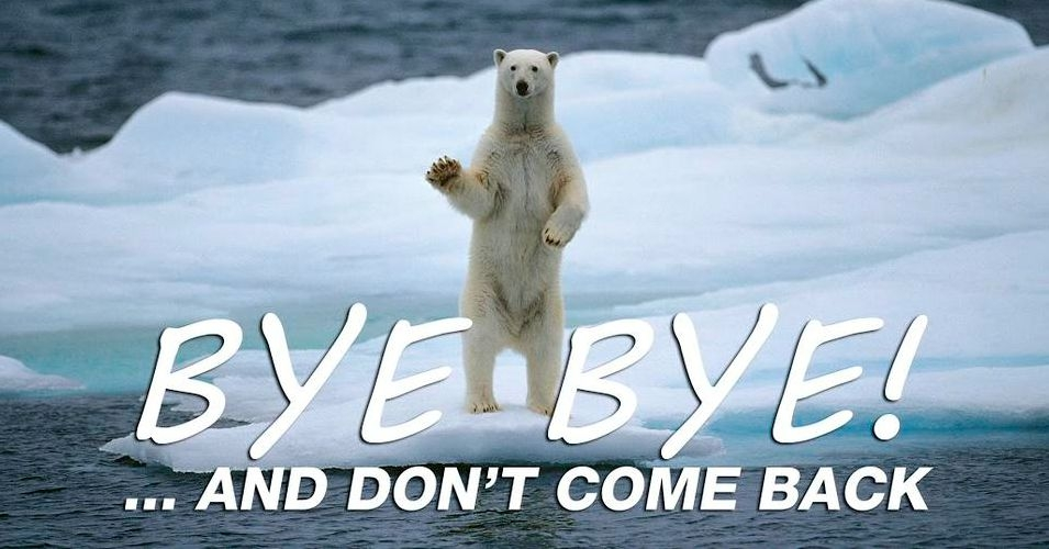 "In response to the announcement that Shell will cease drilling operations in the Arctic for the ""foreseeable future,"" Greenpeace produced this image to offer their sentiments of farewell. (Image: Greenpeace/Twitter)"