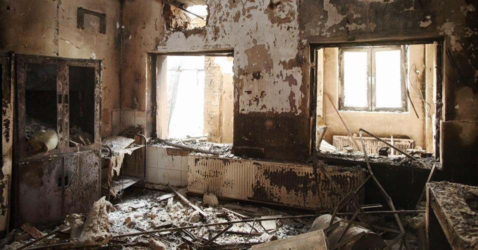 A devastated room adjacent to the emergency entrance in the western wing of the Outpatient Department building. (Photo: Andrew Quilty/Foreign Policy)