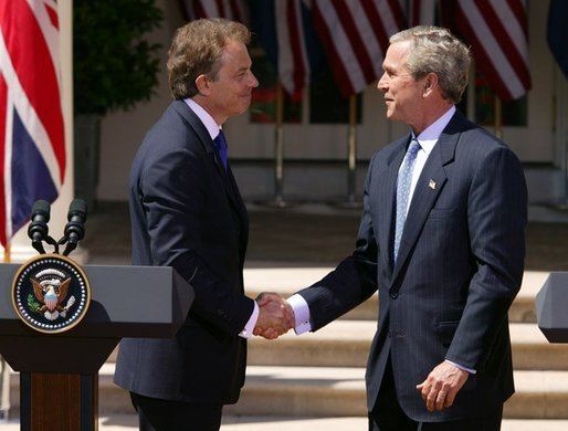 Tony Blair and George W. Bush at the White house, 2004. Photo: public domain