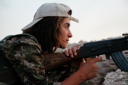 Photo showing female Kurdish YPJ fighter, by Kurdishstruggle via Flickr.