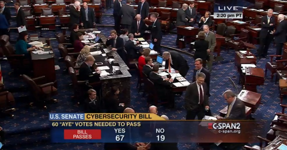 The U.S. Senate approved CISA on Tuesday. (Screenshot)