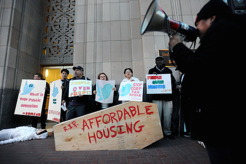 A protest for increased corporate taxes and affordable housing in San Francisco.