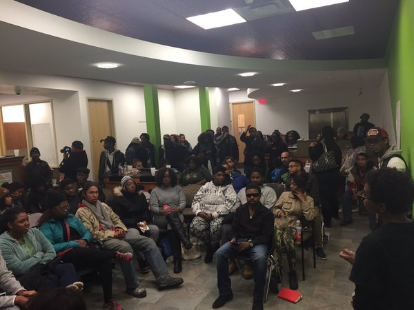 A community meeting to figure out the next steps after the shooting. (Twitter/Black Lives Matter MPLS)