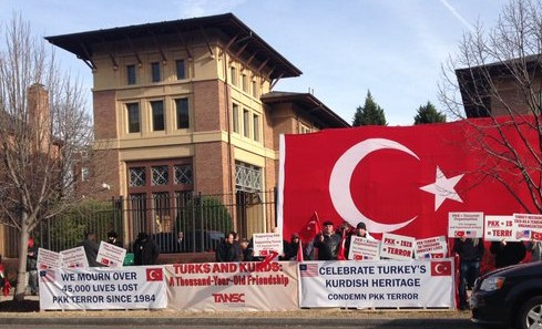 Supporters of Turkey's position take aim at the Kurdish Vigil across the street in Washington, DC. Image via Twitter.