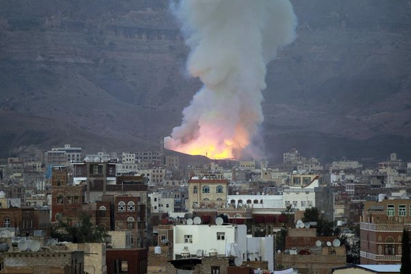 Saudi air attack in Yemen using US manufactured cluster weapons (which are banned) Image: Amnesty international/Twitter