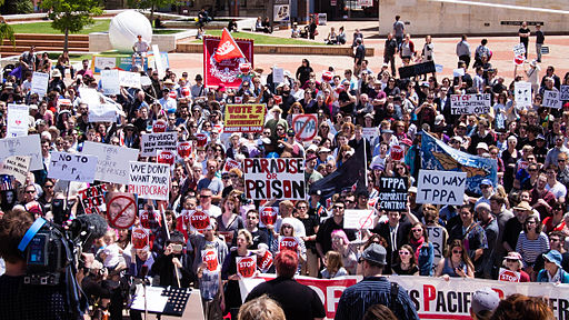 Rally against the Trans-Pacific Partnership Agreement (TPPA) in Wellington, New Zealand, 2014. Photo: Neil Ballantyne from Wellington, New Zealand (Stop TPPA rally.) [CC BY 2.0], via Wikimedia Commons