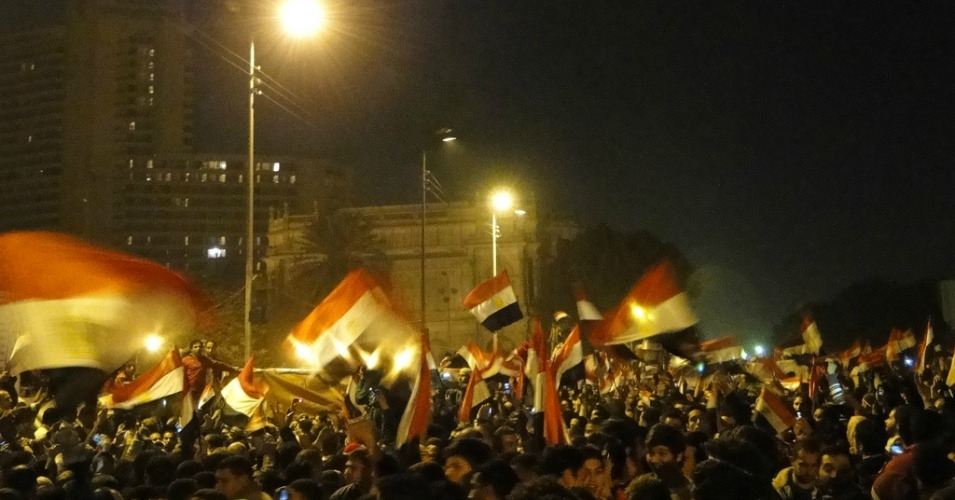 Egyptian flags fly over Cairo's Tahrir Square during the 2011 uprising. (Photo: Ramy Raoof/cc/flickr)