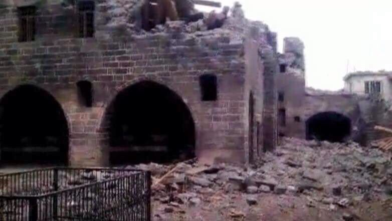 Historic Armenian church in the Sur district of Diyarbakir destroyed by Turkish army February 21, 2016. Image via Twitter.