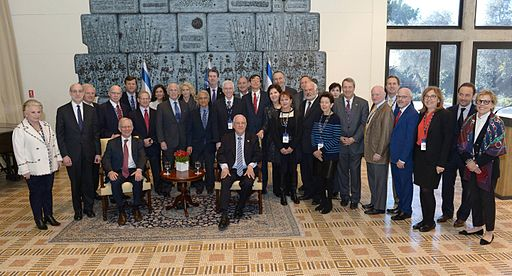 "Reuven Rivlin, president of Israel, meeting senior managers of the American Israel Public Affairs Committee (AIPAC), January 14 2015. Photo: Mark Nayman, Government Press Office, Israel - מארק ניימן, לע""מ [CC BY-SA 3.0], via Wikimedia Commons"