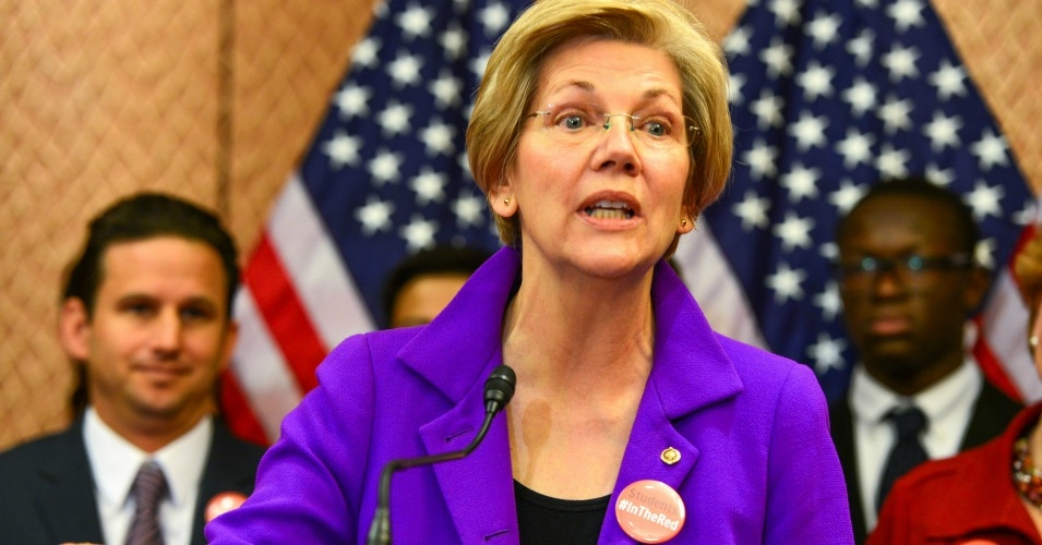 In January, Elizabeth Warren was among a group of Senate Democrats who unveiled a legislative package to address college affordability. (Photo: Senate Democrats/flickr/cc)