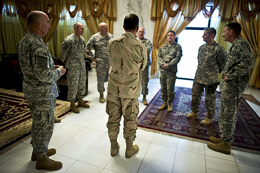 Navy Adm. Mike Mullen, chairman of the Joint Chiefs of Staff greets the various commanding generals of U.S. Forces, Iraq in Baghdad on July 27, 2010. Photo: The U.S. Army (U.S. Generals in Iraq) [CC BY 2.0], via Wikimedia Commons